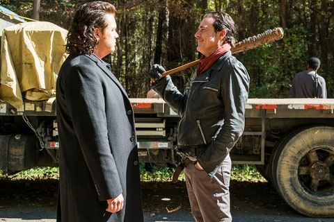 Josh McDermitt, left, and Jeffrey Dean Morgan in 'The Walking Dead' Season Seven finale.