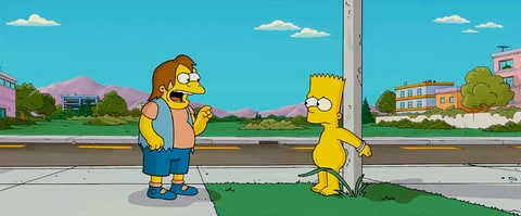 Nelson Muntz laughing at Bart Simpson on The Simpsons.