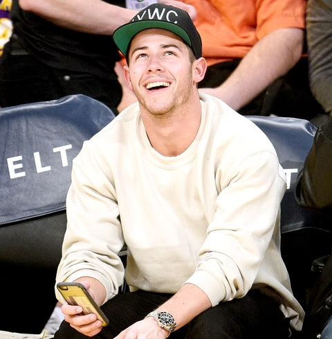 Nick Jonas attends a basketball game between the Miami Heat and the Los Angeles Lakers at Staples Center on March 30, 2016.