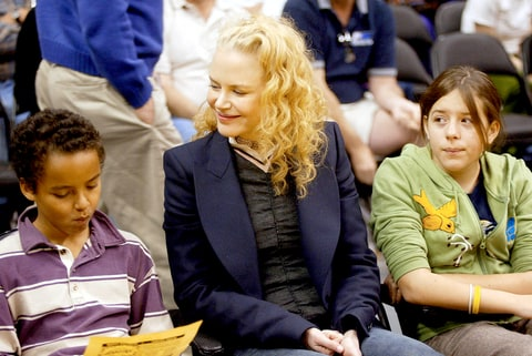 Nicole Kidman and her children Connor (L) and Isabella (R) attend a game between the Los Angeles Lakers and the Miami Heat at the Staples Center December 25, 2004 in Los Angeles, California.