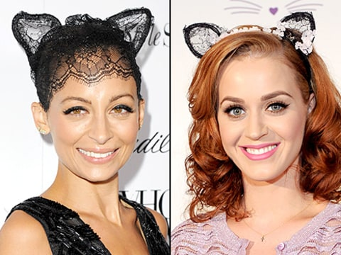 Nicole Richie and Katy Perry - cat ears