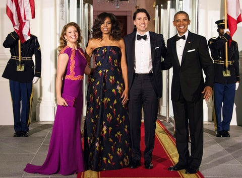 President Barack Obama, first lady Michelle Obama, Canadian Prime Minister Justin Trudeau and his wife, Sophie Gregoire Trudeau