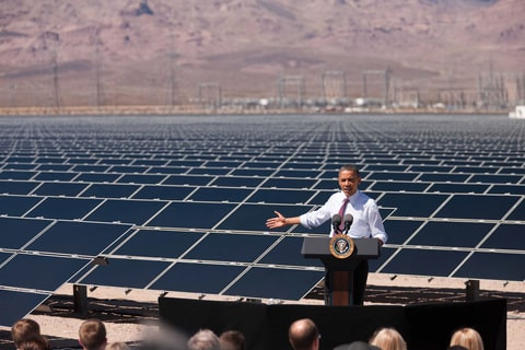 President Barack Obama delivers remarks on energy after a tour of a Solar Panel Field at the Copper Mountain Solar 1 Facility, the largest photovoltaic plant operating in the country with nearly one million solar panels powering 17,000 homes, in Boulder City, Nevada, March 21, 2012.
