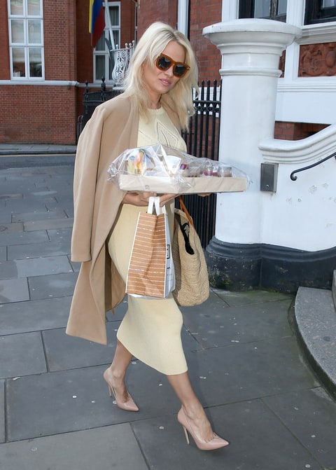 Pamela Anderson is seen at the Ecuadorian Embassy showing support for Julian Assange by bringing him a healthy vegan breakfast on November 13, 2016 in London, England.