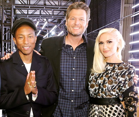 Pharrell Williams, Blake Shelton, and Gwen Stefani