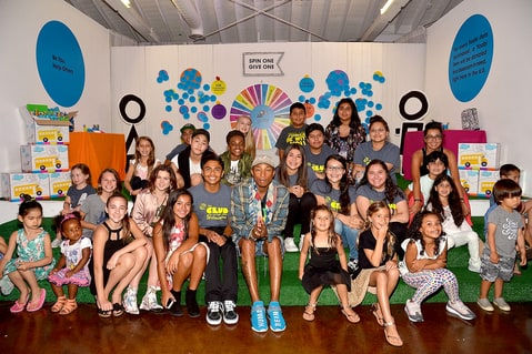 Pharrell Williams celebrates Yoobi x i am OTHER Presented by Pharrell Williams, a limited-edition collection that gives back to U.S. classrooms in need on August 11, 2016, in Los Angeles.