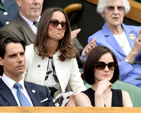 Pippa Middleton and Michelle Dockery watching game