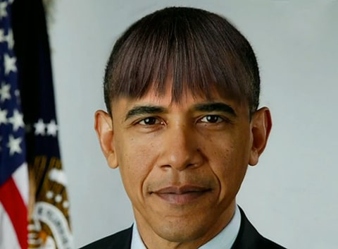 President Obama with Michelle's Bangs