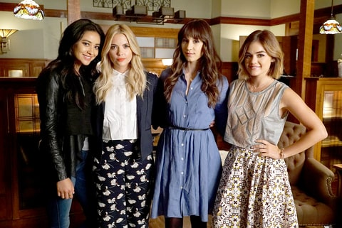 Shay Mitchell, Ashley Benson, Troian Bellisario, and Lucy Hale on Pretty Little Liars.