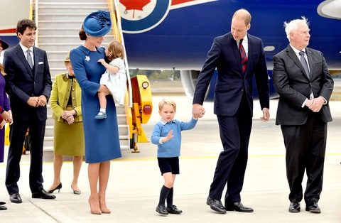 The Prime Minister of Canada Justin Trudeau (L) watches after greeting Prince William, Duke of Cambridge, Catherine, Duchess of Cambridge, Prince George of Cambridge and Princess Charlotte of Cambridge arrive at Victoria International Airport on September 24, 2016 in Victoria, Canada.