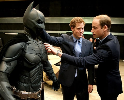 prince william and prince harry with batman suit