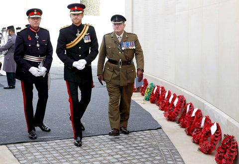 Prince Harry (C) arrives to attend The Armistice Day Service at The National Memorial Arboretum on November 11, 2016 in Stafford, England.