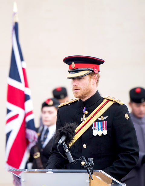 Prince Harry attends Armistice Day service at The Armed Forces Memorial at The National Memorial Arboretum on November 11, 2016 in Stafford, England.