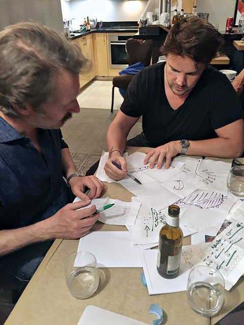 Ingels sketching ideas for the Hyperloop, a high-speed transport system, with then-project CTO BamBrogan