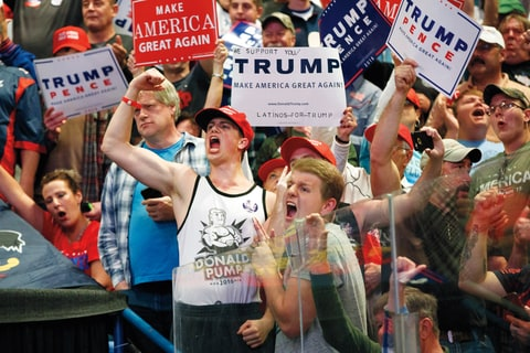 Supporters cheer for Republican presidential candidate Donald Trump cheer during a rally, Monday, Oct. 10, 2016, in Wilkes-Barre, Pa. (AP Photo/ Evan Vucci)