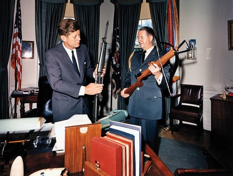 President Kennedy at the White Houser with M16 rifle, which was rolled out for the Army in 1963.