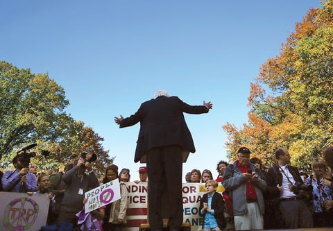 Sanders at a November rally on Capitol Hill for economic and social justice.