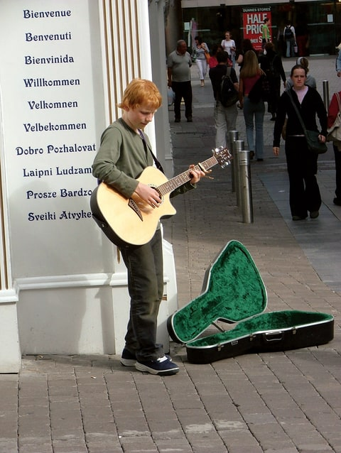 Sheeran busking in Galway, Ireland, in 2005, age 14.
