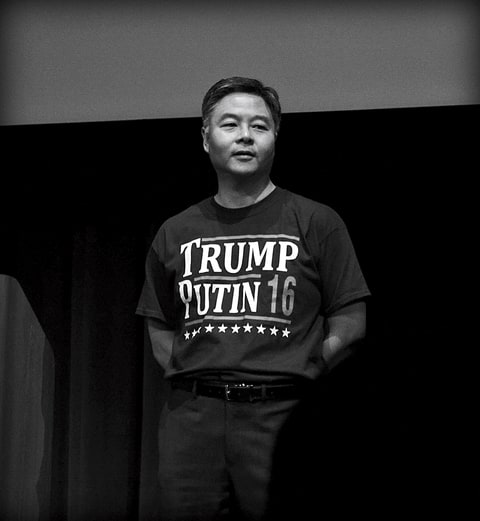 Representative Ted Lieu holds a town hall at Santa Monica High School on April 20, 2017 in Los Angeles, California. (