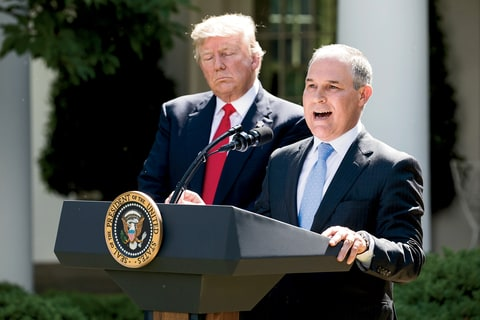 In the White House Rose Garden after Trump pulled out of the Paris climate accord, Pruitt said,