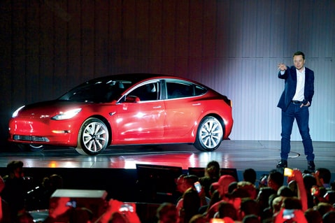 Elon Musk with the Tesla Model 3