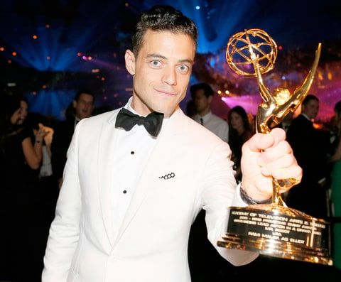 Rami Malek, winner of the award for Outstanding Lead Actor in a Drama Series for 'Mr. Robot,' attends the Governors Ball for the 68th Primetime Emmy Awards.