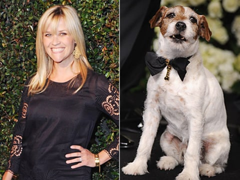 Reese Witherspoon and Uggie