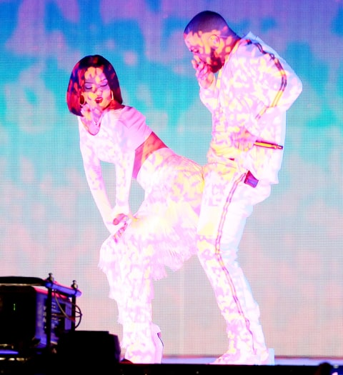 Rihanna and Drake performs at the BRIT Awards 2016.