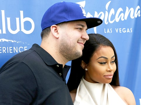 Rob Kardashian and Blac Chyna attend the Sky Beach Club at the Tropicana Las Vegas on May 28, 2016, in Las Vegas.
