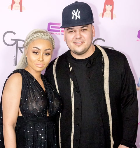 Rob Kardashian and Blac Chyna arrive at her Blac Chyna Birthday Celebration and Unveiling of Her
