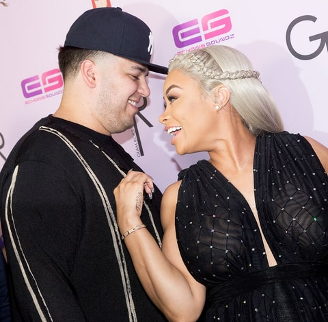 Rob Kardashian (right) and Blac Chyna at her birthday celebration
