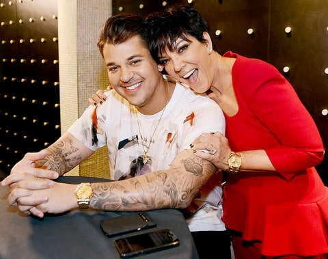 Rob Kardashian and Kris Jenner during Rob Kardashian's Arthur George Street sock line launch at Kardashian Khaos at the Mirage on March 16, 2013 in Las Vegas, Nevada.