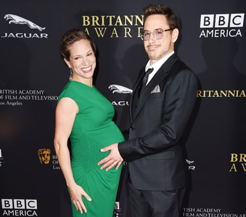 robert downey jr and susan downey hand on belly
