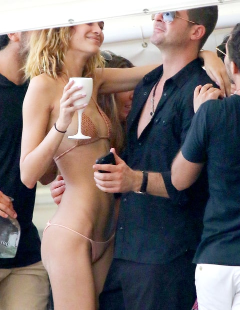 Robin Thicke and his girlfriend April Love Geary have fun on the beach in St. Barts.