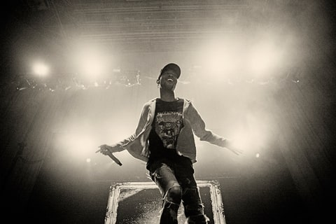 Kid Cudi onstage at the University of Illinois' Assembly Hall.