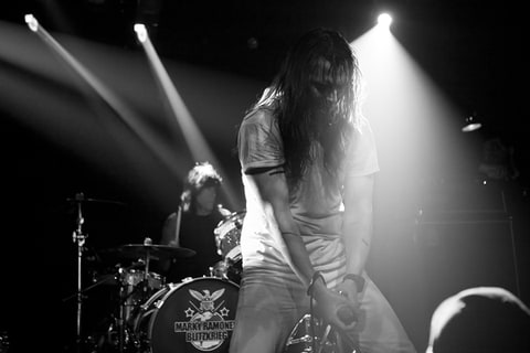 Andrew WK performs with Marky Ramone's Blitzkrieg at Santos Party House in New York.