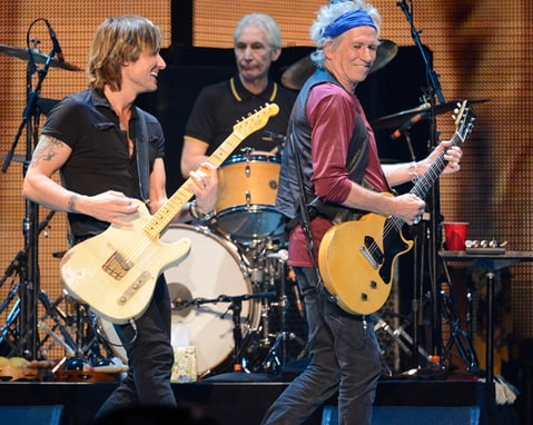 Keith Urban and Keith Richards perform during the Rolling Stones '50 and Counting' Tour at Staples Center in Los Angeles.