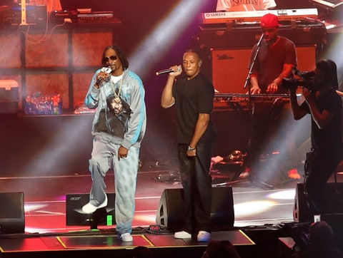 Snoop Dogg and Dr Dre perform at the Staples Center in Los Angeles, California.