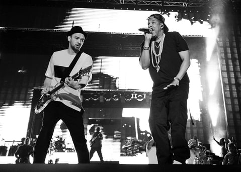 Justin Timberlake and Jay-Z perform during the Legends of the Summer Tour.