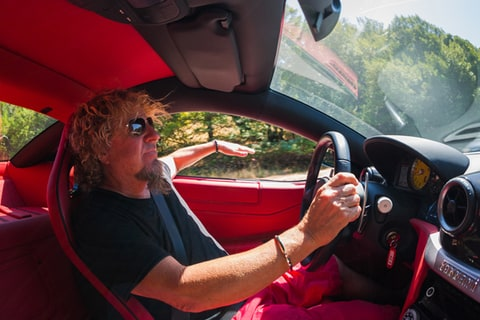 Sammy Hagar takes his Ferrari out for a drive.