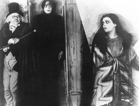 THE CABINET OF DR. CALIGARI, from left: Werner Krauss, Conrad Veidt, Lil Dagover, 1920