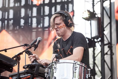 Robert DeLong performs during the 2013 Made in America Festival at Benjamin Franklin Parkway in Philadelphia.