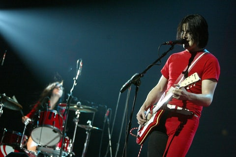 Meg White and Jack White of The White Stripes perform in Manchester, UK.