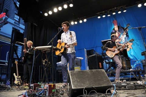 Grizzly Bear perform during CBGB Music & Film Festival at Times Square in New York City.