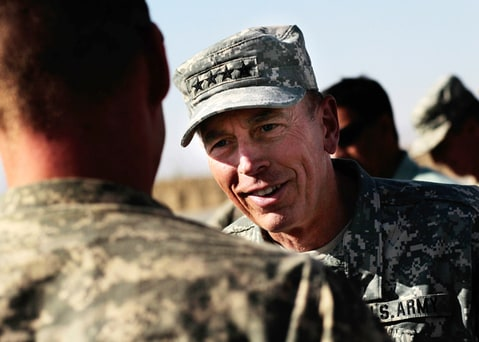 David Petraeus on the flightline of Forward Base Wilson west of Kandahar, Kandahar Province, Afghanistan.