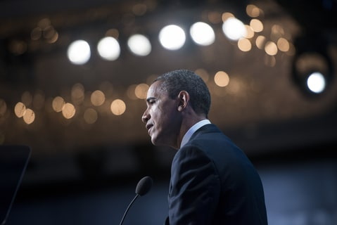 President Barack Obama speaking in New York.
