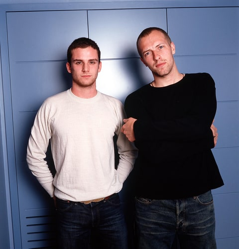 Guy Berryman and Chris Martin of Coldplay in England, 2003.