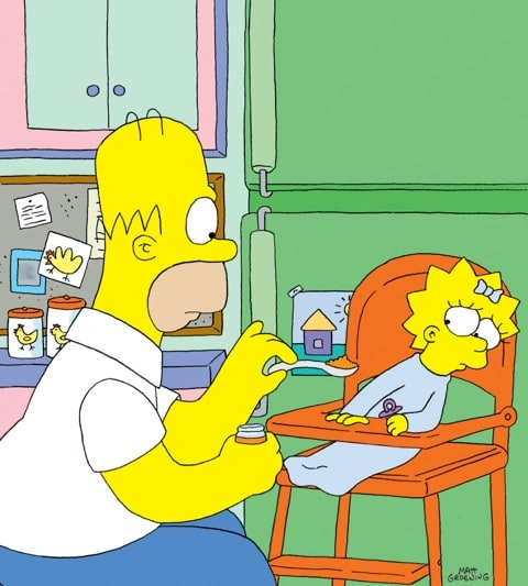 Homer Simpson feeds Maggie Simpson.