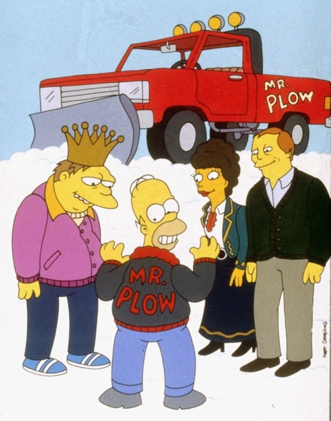 Homer Simpson and his snow plow.