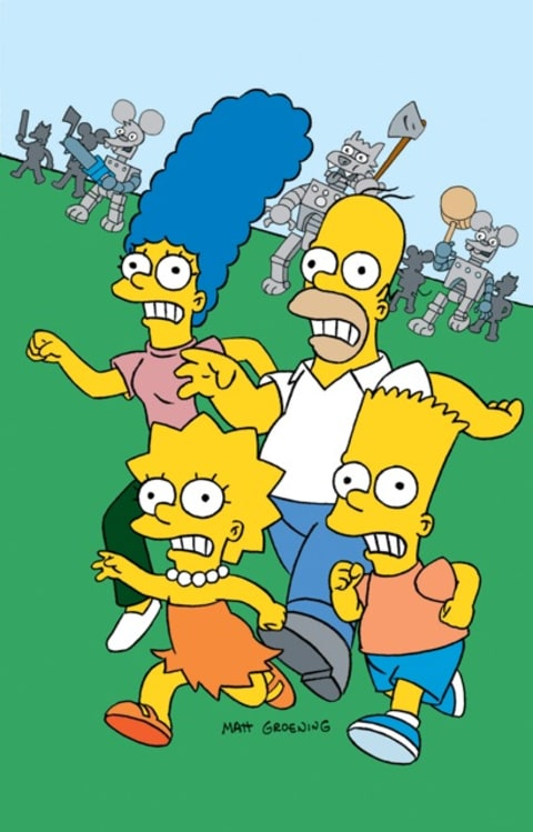 The Simpsons family running away.